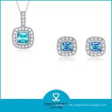 925 Silber einfache Halskette und Ohrring Schmuck-Set (J-0165)