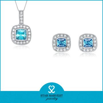 925 prata simples colar e jóias brinco conjunto (j-0165)