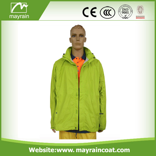 Blue Polyester Men Rain Jacket