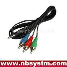 Conector de 4 pólos de 3,5 mm para cabo RGB de 3RCA