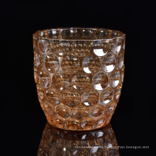 Debossed Pattern Glass Candle Holder with Iridescent Effect