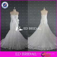 2017 ED Bridal Custom Made Strapless Mermaid Beaded Lace Appliqued Tulle Vestido de casamento sexy com faixa floral