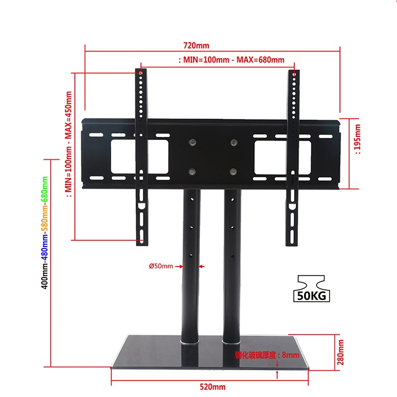 universal TV base stand Lline drawing TV03-740