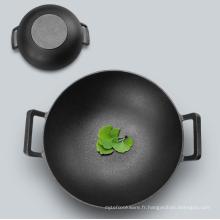 Ustensiles de cuisine préfabriqués en fonte wok