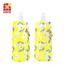 Flexible foldable water bottle with carabiner BPA free