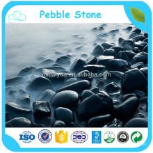 Natural River Stone Black Polished Pebble Wash Stone em massa