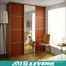 Placard de chambre à coucher de porte coulissante en bois solide avec miroir (AIS-W229)