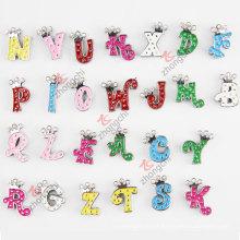 Liga de metal colorido letras iniciais deslizar charme grânulos para crianças moda jóias (JP08-008)