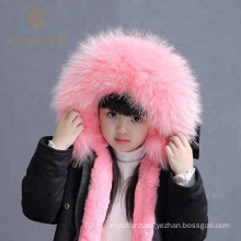 Parent-child clothing real raccoon fur hooded parka kids with fur lining