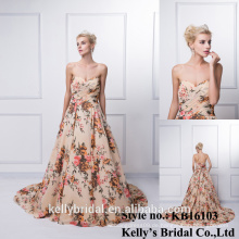 KB16103 Pleated Chiffon Champagnerkleid mit eleganten Blumengarn gefärbt Schatz Ausschnitt Modernes Abendkleid Kleid