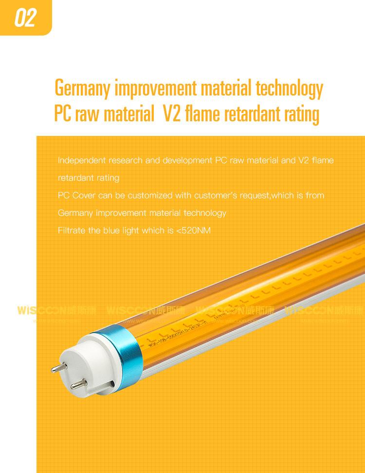 Hot Sale No UV 2ft 3ft 4ft 5ft T8 LED yellow tube lighting LED tube 10w 13w 18w 25w