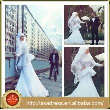 SMA15 Elegant Long Sleeve Mermaid Beading Muslim Hijab wedding dress Design