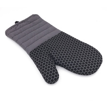 BBQ durable silicone cotton fabric woven mitts heat resistant oven glove