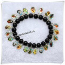 Factory Discount Hot Sale Religious Glass Beads Rosary Bracelets (IO-CB020)