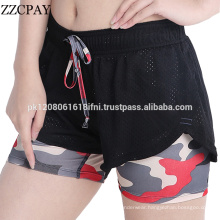Double panel fabric for women crossfit short exercise gym yoga sports wear