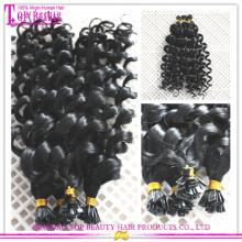 Extensão de cabelo de ponta plana virgem