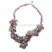 Handmade Crystal Rainbow Multi Flower Statement Necklace For Party or Show