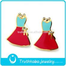 PVD placage or bijoux en acier inoxydable gravé coloré émail filles dernières jolies boucles d'oreilles avec cristal scintillant pour les femmes