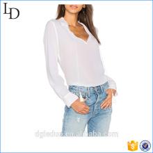 Fashion Lady Casual Knopf Plain Manschetten Ärmeln Seide Plissee Langarm Bluse zurück Hals Design