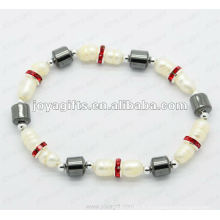 """Bracelet en perle tambour magnétique à l'hématite 7.25 """""""
