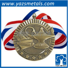 personalizar medallas de metal, medalla escolástica de alta calidad personalizada con cinta y estrellas