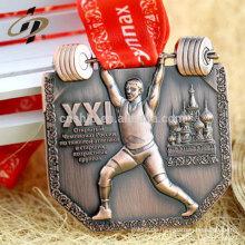 Benutzerdefinierte Gewichtheben Gold Metall Sport Medaille mit Band
