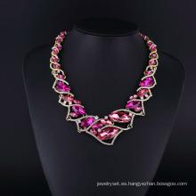 Set de collar brillante de cristal violeta y pedrería checa