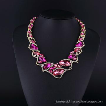Ensemble de collier brillant en cristal violet et strass tchèque