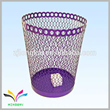 Офисные аксессуары фиолетовый круглая металлическая сетка для мусора мусорное ведро
