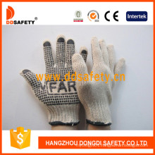 Cotton Polyester String Knit. Black PVC Dots Glove One Side with Logo Dkp151