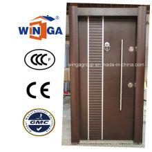 Puerta de chapa de MDF de madera de acero de seguridad de estilo clásico de Turquía (W-T34)