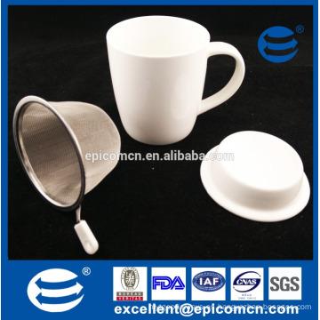Blanco llano en blanco Nuevo cerámica Nueva taza de café de China del hueso Taza de té con el filtro con la tapa