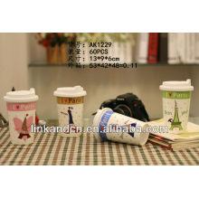 KC-01016 cute design,ceramic coffee mug with silicone lid