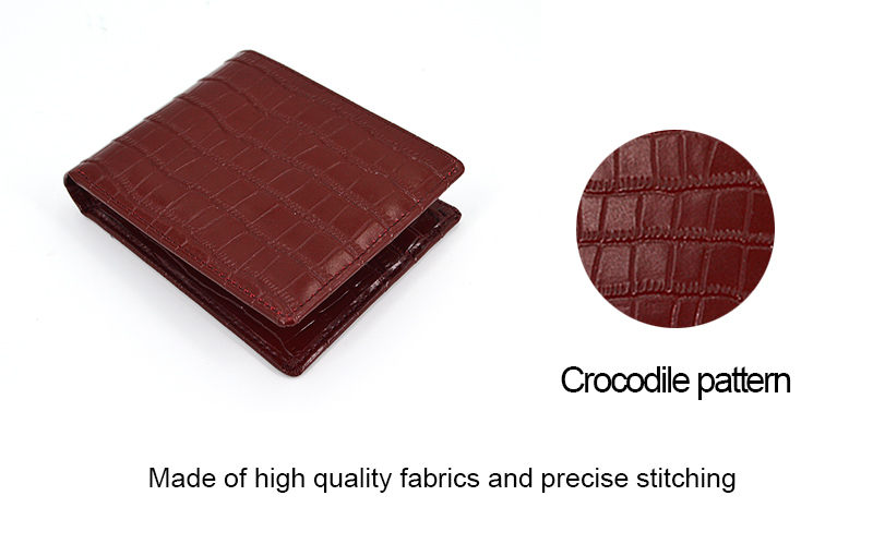 2019 Best Selling Short Crocodile Leather Men Wallet