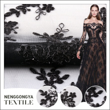 Wholesale cheap price black embroidery designs with net fabric