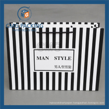 Black Stripes Paper Bag for Fashion Clothing (CMG-MAY-044)