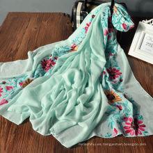 Nuevo diseño multifuncional patrón de flores tela dama chales al por mayor hijab malasia