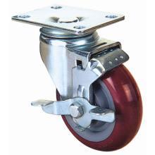 Roulette pivotante PU avec frein latéral (rouge)