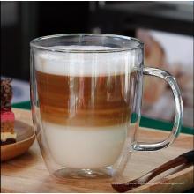 Стеклянная кружка кофе двойного стены безопасности жары сопротивления жары для оптовика