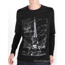 Tower Design Printing Black Cotton Custom Long Sleeve Men T Shirt