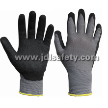 Gray Nylon Knitted Working Glove with Sand Nitrile Coated (N1558)