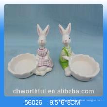 Cutely conejo designe titular de la vela de cerámica