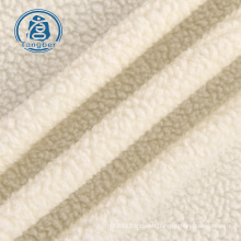 Custom white 100% polyester knitted bonded one side brushed sherpa fleece fabric