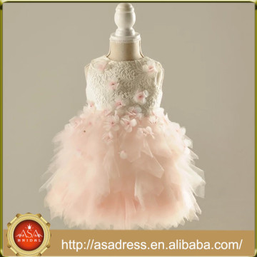RFGD04 2017 Pretty Tulle Flower Girl Dress Girl Party Dresses Appliqued Pink Lace Little Girls Pageant Dresses