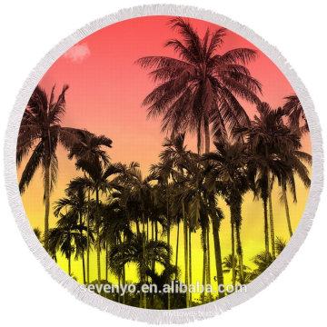 tropical palm beach pattern with tassels Round Beach Towel RBT-074