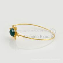 Handmade Vermeil Gold Gemstone Lovely Charm Bangle For Women In Wholesale