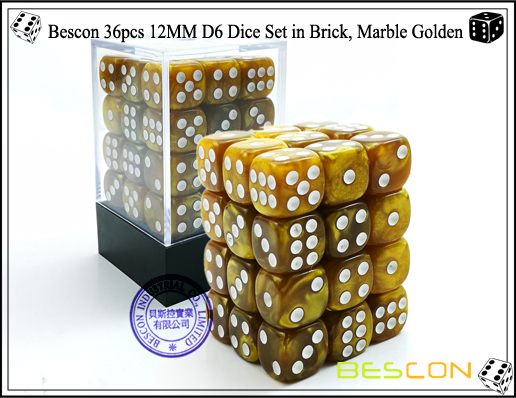 Bescon 36pcs 12MM D6 Dice Set in Brick, Marble Golden-1