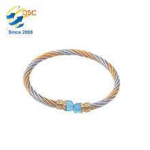 Diseño simple con el brazalete plateado de la joyería del metal del oro por encargo