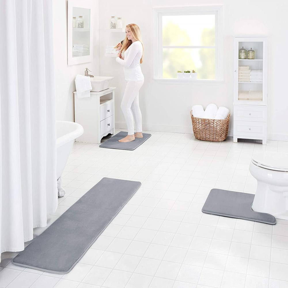 Grey Memory Foam Bath Mat