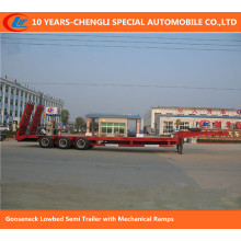 50ton-60ton Gooseneck Lowbed Semi Trailer with Mechanical Ramps